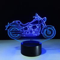 Wholesale Optical Tree - 2017 Super Cool Motorbike 3D Optical Illusion Lamp Night Light DC 5V USB AA Battery Wholesale Dropshipping Free Shipping Retail Box