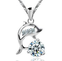 Wholesale 925 Silver Necklace Dolphin - 925 Sterling Silver Wedding Jewelry Women Zirconia Austria Crystal Dolphin Pendant Water Necklace Silver Color Brand New Factory Wholesale