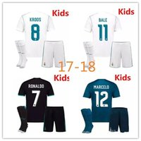 Wholesale Madrid Youth - 2017 2018 Real Madrid kids home away third soccer jersey kits youth boys child jerseys kits 1718 RONALDO BALE ISCO MODRIC football shirts