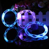 Wholesale Christmas Led Lights Blinking - LED bracelet light up flashing Glowing bracelet Blinking Crystal bracelet Party Disco Christmas Gift 2016 statement(160106)