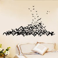 Wholesale vintage animal decals - AW9560 Black 3D DIY PVC Bat Wall Stickers Home Decor Living Room Halloween Decor 3d Vinyl Walls Wall Decals Vintage Poster