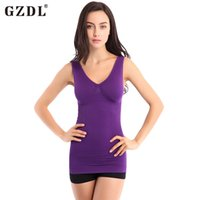 Wholesale Tank Top Underwire - Wholesale-Sexy Women Cotton Seamless Fitness Body Underwire Push Up Shockproof Pad Sports Vest Tops Women Shapewear Camisole Tank 5059