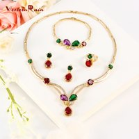 Wholesale Good Quality Crystal Earrings - WesternRain 2017 Good Quality party 18k Gold Plated Colorful Fashion necklaces statement gifts Women fashion Necklace jewelry set A008