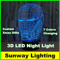 Wholesale Color Changing Christmas Trees - Created LED Lights Christmas gifts Star Wars Iron Man 7 color changing lighting 3D Lamp illusion LED lamp for kids toy Night Light