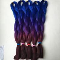 dunkellila flechthaar großhandel-10 Stück / Los Kanekalon Jumbo Flechten Haar dunkelblau lila und Bur Farbe hohe Temperatur synthetische Jumbo Flechten Haar Kostenloser Versand