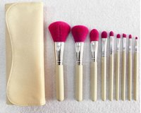 Wholesale Wood Handle For Bag - 9 pcs set Makeup Brushes Set Soft Synthetic Hair Blue Wood Handle Classic Cosmetic Brush Set for Face Makeup eyeshsadow with Leather Bag