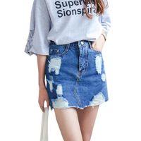 Wholesale Sexy Jeans Skirts - Summer 2017 Women Denim Skirt Jeans Short High Waist Mini Skirt Sexy Ripped Jeans Skirts Ladies Slim Pencil Bodycon Denim Skirts
