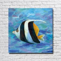 Wholesale Original Oil Paintings Modern - Top quality cheap modern paintings hand painted fish painting art sea fish Original Design Abstract Oil Painting