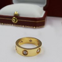 Wholesale Valentines Day Gold Rings - top 316L titanium steel rose gold rings 6MM and gold rings fashion jewelry lover Valentine gift for women couple ring