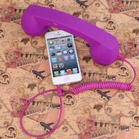 Wholesale Wired Handset - Color Purple Handset Earphone Telephone Receiver For Mobile Phones Anti-radiation Retro