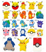 cartoon suitcase - Cartoon Luggage Tags Fashion Suitcase Tag Pikachu Silicone Luggage Tags Cartoon ID Address Baggage Tags Christmas Gift desgigns D706