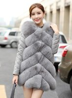 Wholesale Ladies Leather Jackets Sale - Top sales elevated Women's Fox fur Patchwork Leather jacket lady luxurious Grey warm outwear snowsuit coats plus size S~2XL