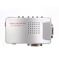 adaptateur pal achat en gros de-Convertisseur PC VGA vers TV AV RCA Adaptateur de Signal Convertisseur Vidéo Boîtier Commutateur Vidéo Supporte NTSC PAL