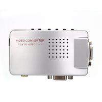 Wholesale Tv Video Converter Ntsc Pal - PC Converter Box VGA to TV AV RCA Signal Adapter Converter Video Switch Box Composite Supports NTSC PAL for Computer