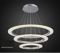 Wholesale Rc Frames - Modern Luxury Round ring LED pendant lamp Diameter 40CM60CM80CM LED pendant light Acrylic Silver frame RC Dimmable 110V 220V LED Chandelier