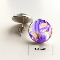 ingrosso fiore bianco iride-Orecchino Iris Violet blu arancio bianco orecchino fiore vetro Photo art Orecchino gioielli
