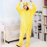 pyjama unisexe achat en gros de-Gros-2016 Pikachu animale chaude onesise vêtements de nuit chaude unisexe adulte cosplay dessin animé animal Pyjama Ensembles de vêtements de nuit femmes vêtements, ty8718