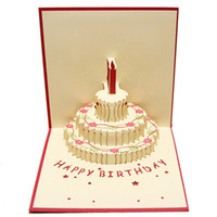 Wholesale Birthday Cake D paper laser cut pop up handmade post cards custom gift greeting cards souvenirs party supplies