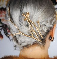 Wholesale Hair African American Women - 2016 Gold Silver Tree Clip Fashion Novel Designer Vintage Metal Branches Hairpins for Women Wedding Hair Jewelry Accessories 4 Desings XR