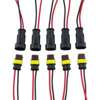 штепсельная вилка оптовых-5 шт./лот 5 Комплект 2-контактный способ 2P 2PIN автомобиль водонепроницаемый электрический разъем с проводным кабелем AWG морской HID Plug автомобиль
