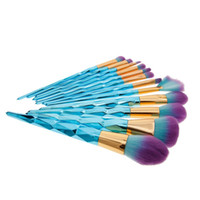 blau bearbeitete make-up pinsel großhandel-12 stücke Diamant Blau Griff Make-Up Pinsel Set Foundation Powder Blush Lidschatten Eyeliner Augenbraue Kosmetik Pinsel Werkzeug Kit # 248337