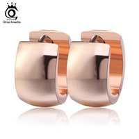 Wholesale High Quality Gold Hoop Earrings - Rose Gold   Gold Silver Earring Mount High Quality Stainless Steel Classic Hoop Earring Nice Fashion Accessories GTE18