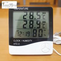 termómetro de interior al aire libre de humedad al por mayor-Digital LCD Termómetro Higrómetro Temperatura electrónica Medidor de humedad Estación meteorológica Probador de interior y exterior Reloj despertador HTC-2