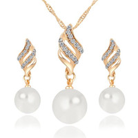 Wholesale Earrings Charming Drop Golden - Sale Fine Accessories Jewelry sets Crystal Pearl Ball Geometric Rhombus Pendant Charm Choker Necklaces Charm Drop Dangle Earrings For Women