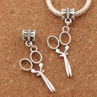 gümüş makas takılar toptan satış-Uzun Makas Büyük Delik Boncuk 100 adet / grup Antik Gümüş Dangle Fit Avrupa Charm Bilezikler Takı DIY B231 39.7x13.2mm