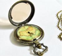 Wholesale Unique Maps - PB006 Vintage Classic Unique Large Specular map pocket fob watch necklace pendent steampunk relogio de bolso for men women
