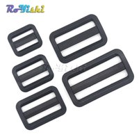Wholesale tri glides - 100pcs lot Plastic Black Curve Tri-Glide Slider Adjustable Buckle for Bags Webbing