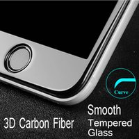 Wholesale Iphone Glass For 3d - Glossy Carbon Fiber 3D Curved Edge Tempered Glass Screen Protector For iPhone 6 6S 6Plus HD Clear Tempered Glass for iPhone7 7Plus Film