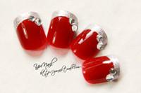 Wholesale Shorts French Nail Tips - Sexy Red Wine Color Short Nail Tips 3d Pre design french nails Full Cover false nail 24pcs lot Artificial nails Bride nail decoration