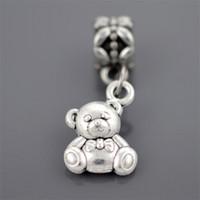 Wholesale Bead Teddy Wholesale - Silver plated Teddy bear pendant Big Hole Loose Beads Pandora DIY Jewelry Bracelet Pendant European Beaded Bracelet Necklace accessorie