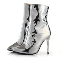 Sexy Silver Mirror Leather Pointed Toe Short Booties para mulheres Stiletto Heel Fashion Runway Nightclub Ankle Boots