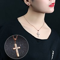 Casal Pendant Necklace 316L Stainless Steel Cross Ring Zircon Lovers Colares Pingentes Titanium Steel Jewelry Gift Romântico para Mulheres Homens