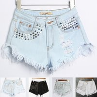 Wholesale Short Rivet Jeans - Ladies Western Rivet Denim Shorts Modern Streetwear Raw Hem High Waist Beach Shorts Washed Ripped Short Denim Jeans BSF0361