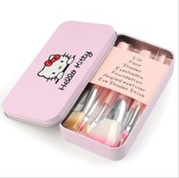 Wholesale Mini Wood Pieces - Makeup Tools Set Hello Kitty Mini Brush Kit Face 7 Pieces Brush Set With Iron box