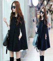 Wholesale Korean Long Hair Styles - 2017 autumn and winter women's wear south Korean version of the long hair of the long hair, the cloak of a black shawl coat