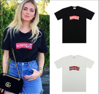 japon à manches longues achat en gros de-Fashion Japan box logo Collaborations inversées Wrinkle Folding Haute qualité Summer Skateboard T-shirt Top Hommes Femmes Street Casual Cotton Tee