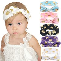 Wholesale Accessories For Girls Dot - 12 Color Baby gilding dot Headband New arrive infant boy girl solid color head wear for choose Hair Accessories with Bowknot B001