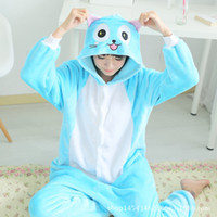 Wholesale Pajamas Cat Print - Happy Cat Pajamas Unisex Kigurumi Fairy Tail Anime Cat Onesie Party Halloween Cosplay Costume Blue Sleepware S-XL Free shipping