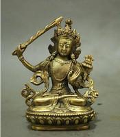 Wholesale Yellow Sheet Metal - Folk Chinese Tibet Brass Buddhism Manjushri Buddha Kwan-yin Bodhisattva Statue