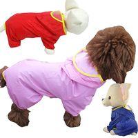 Wholesale Good Raincoats - 5 Colors Good Quality Nylon Waterproof Pet Raincoat Medium Large Dog Four Legs Cloth 30pcs lot Drop Shipping