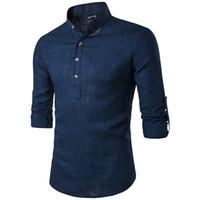 camisa mandarina de hombre al por mayor-Camisas de lino ocasionales sólidas de los hombres Camisas de vestir de manga larga para hombres Camisa de algodón Camisa de los hombres más el tamaño Slim Fit Homme