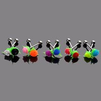 10Pesas Barbell Piercing Multicolor Silicone Rose Flower Bar Body Jóias Navel Nipple Ear Labret Lip Rings [BA26 * 10]
