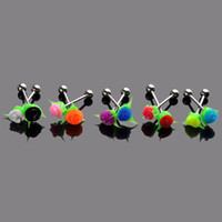 Wholesale Flower Tongue Ring - 10Pieces Barbell Piercing Multicolor Silicone Rose Flower Bar Body Jewelry Navel Nipple Ear Labret Lip Rings[BA26*10]