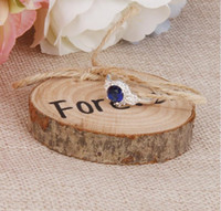 Wholesale Wood ring pillows Wedding Ring Bearer Slice Rustic Wooden Ring Holder Wedding Ring Holder with Burlap Creative Retro Wedding Decoration WT40