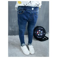 Wholesale Demin Jeans Kids - DHL free 10pcs lot 2016 fashion kids girl casual jeans pant srping autumn children blue demin jeans trousers for 2-7Y best gift