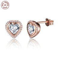 Wholesale Heart Ear Cuffs - Wholesale Solid 925 Sterling Silver Earring Ear Stud 18K Gold Plated Heart Glitter Clear Zircon For Beauty Woman Fashion Luxury Jewelry E473